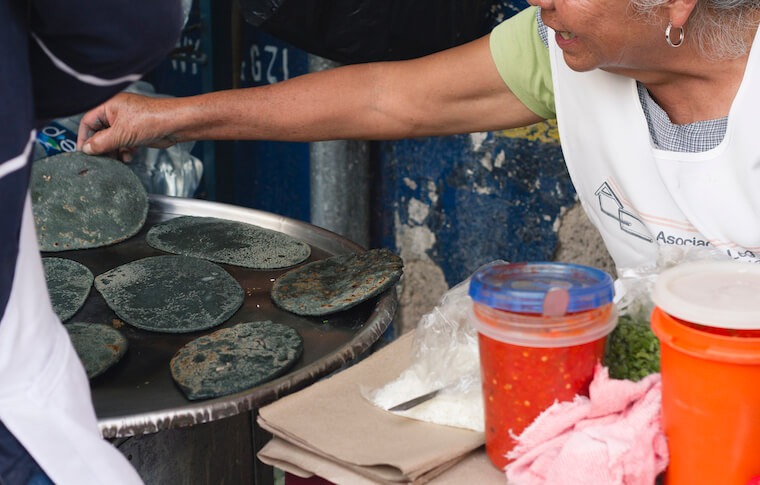 Blue corn tortillas found on our corporate team building food tours