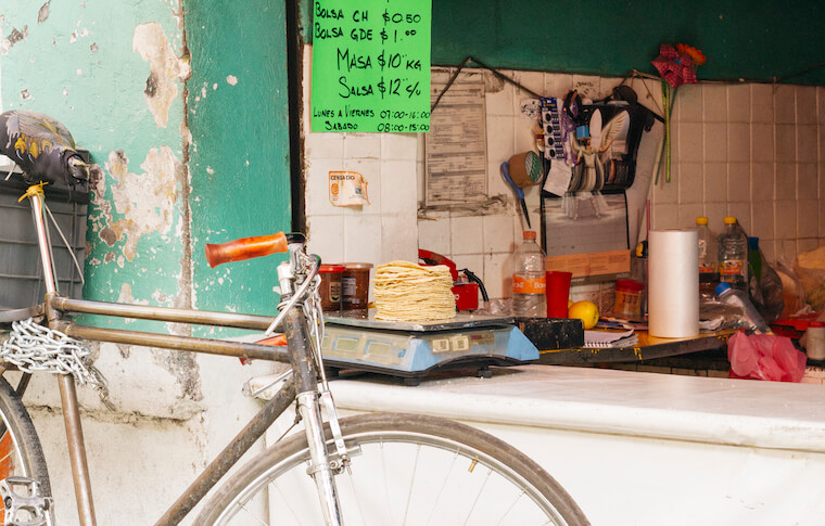 Bike in front of a street stand