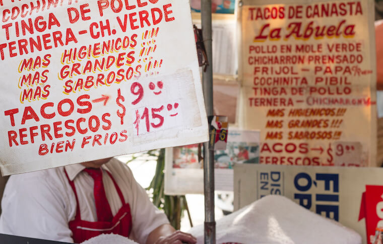 Signs at a Mexico City Street Food Stand