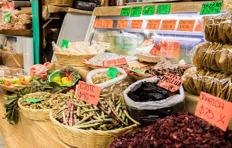 market stand with spices